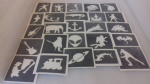10 - 100   x  Boys themed Stencils for glitter tattoos / airbrush / henna / face painting  fundraising